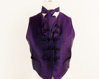 Vintage ROMEO GIGLI RUNWAY Victorian Tapestry Vest and Matching Tie The Sophisticated Waistcoat SizeSmall