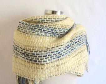 SALE  Shawl,Fashion, basket ,weave ,colorfull  blue, yellow, white, collar, scarf, crochet ,handmade ,gift,warp,warm,stole,wedding,
