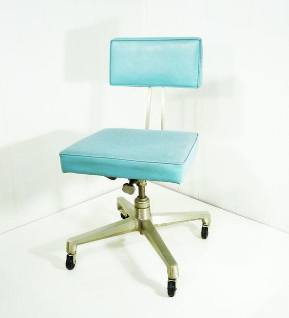 60s aqua vinyl aluminum office chair mid century signed dated