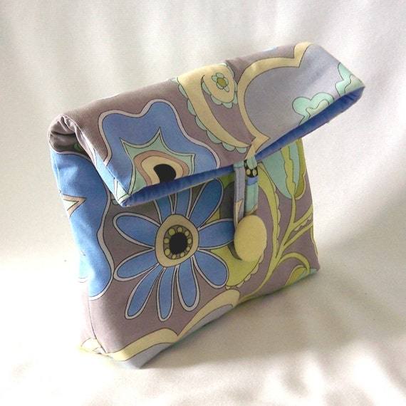 Floral Purse Makeup Bag Clutch Fabric Bag Fold Over Flap