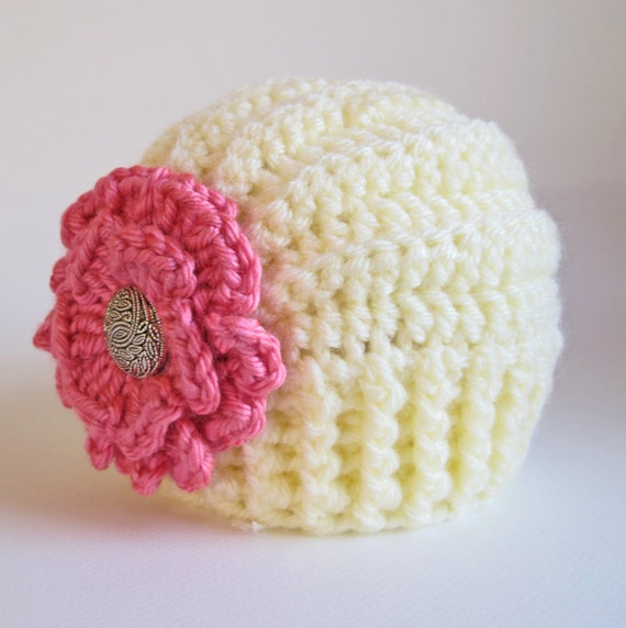 Crochet Beanie Pattern With Flower : CROCHET PATTERN Tres Chic a beanie hat with flower by ...