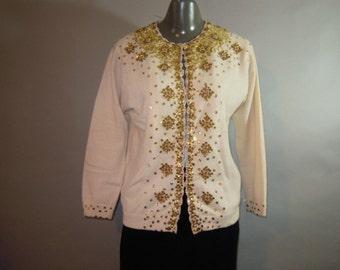 1950's Beaded Sweater // Rockabilly // Sequined Cardigan Sweater // Lambswool Angora // Beige...42