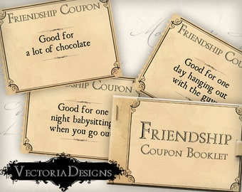 Printable Gift Friendship Coupon Book Valentine Gift gift for friend diy Love Coupons instant download digital collage sheet VD0346