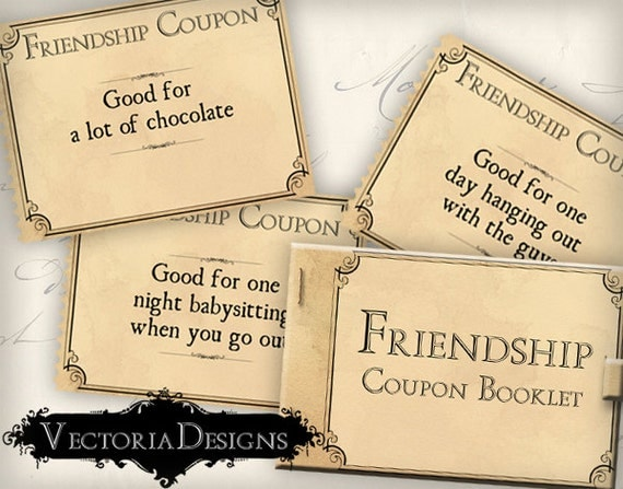 Wedding Gift Ideas For Close Friends: Printable Gift Friendship Coupon Book Valentine Gift Gift For