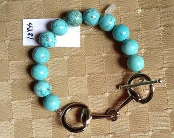Snaffle Bit Howlite Turquoise Bracelet