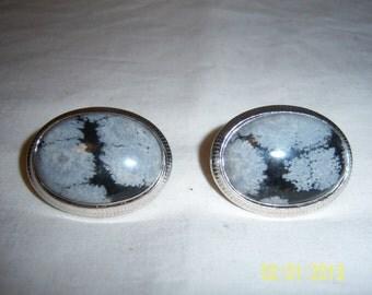 Vintage Silvertone Cuff Links Set With Glass Obsidian Stone -  Swank Silver Color Cufflinks Set