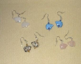 Spirit Bear Genuine gemstone earrings with swarovski crystals/pierced