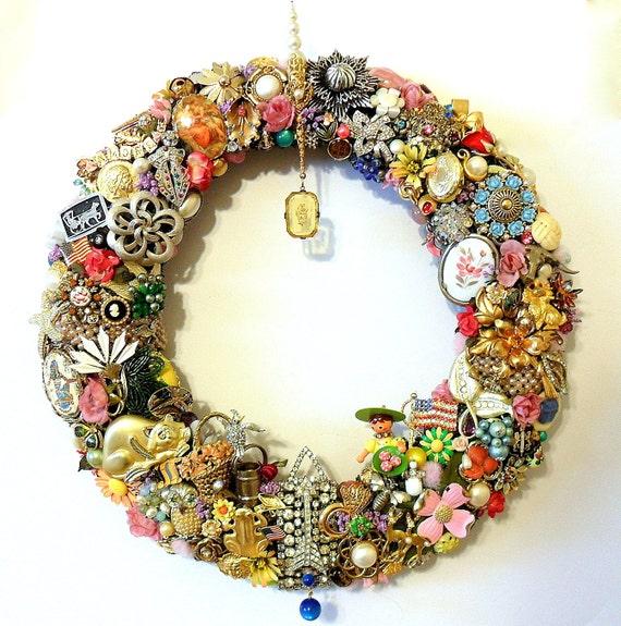 Handmade Vintage Jewelry Wreath Spring Or Summer