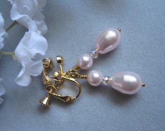 Non pierced, Gold earrings, Pink pearl dangling non-pierced earrings, Screw back earrings,