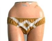 Lingerie Underwear Lace Panties Silk / Gold Ivory Diamond Vintage Jacquard / Medium - Glory Knickers