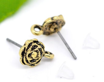 10 Antiqued Gold Tone ROSE French Hook Earrings Ear Wires (5 pairs) . shipped from USA . fin0274