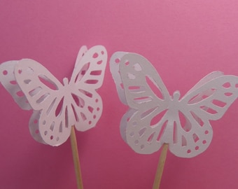 24 Large Wedding White Monarch Butterfly Party Picks - Cupcake Toppers - Food Picks
