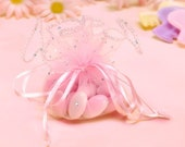 Baby shower favor bags, round gift pouch - 12 pcs pink