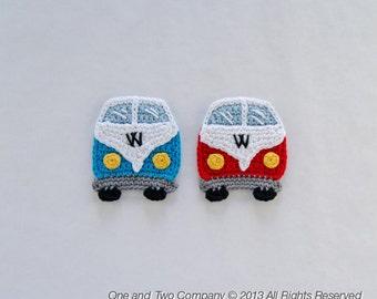 VW Camper Van Applique -  PDF Crochet Pattern - Instant Download - Embellishment Accessories Decor Ornament Scrapbooking Motif