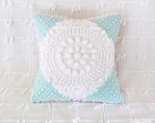 Aqua cushion cover WHITE TARGET turquoise chenille pillow cover 14 X 14  white chenille aqua pillow cottage chic shabby style
