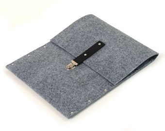 MacBook Pro 15  cover sleeve case grey synthetic felt briefcase with black leather strap handmade by SleeWay