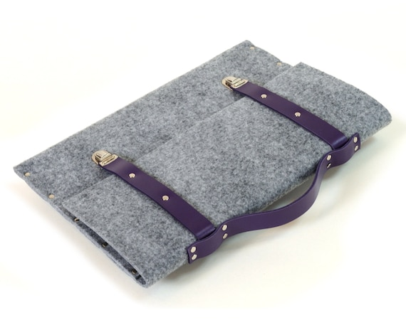 MacBook 13 Pro / Air case grey felt briefcase with violet leather straps and handle made by SleeWay