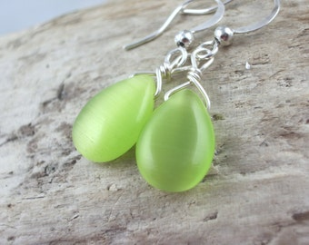 neon green earrings cats eye smooth teardrop beads green wedding jewelry minimalist dainty lightweight