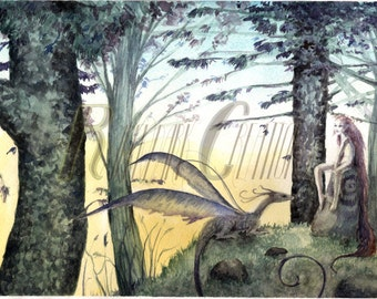 Twilight in the Woods, fantasy watercolor print, dragon and fairy