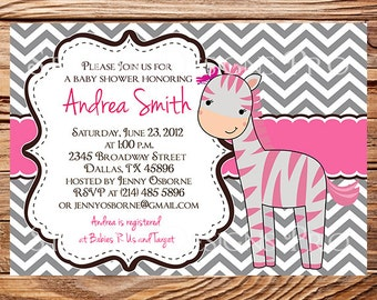 Pink Zebra Baby shower Invitation Girl, Pink, Gray, Baby Shower Invite Zebra, Baby Shower Invitation, Digital, 1484