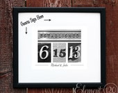 Custom Wedding Date Guest Book Frame- Personalized with number photography art - Black and White Photography in black frame