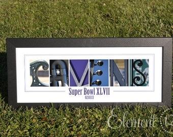 Baltimore Ravens Alphabet Photo Art Print - Super Bowl or AFC Champions Design - UNFRAMED