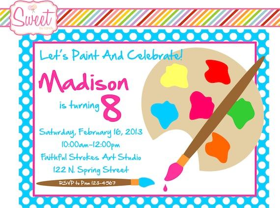 Painting/Art Party DIY Printable Invitation