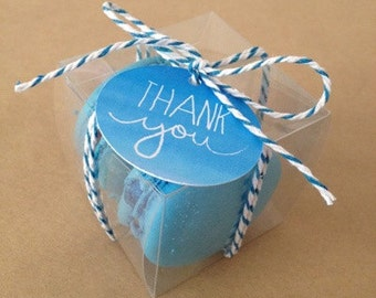 30 Clear Favor Boxes - Clear Boxes - 2.5 inches Cube - Macaroon packaging - cupcake