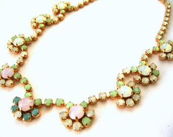 Swarovski Opals Necklace Pastel Crystal flowers Bridal Wedding necklace Choose your length rose gold plated