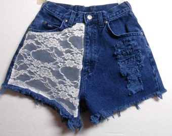 24 inch waist.....High Waisted denim shorts --White  Lace