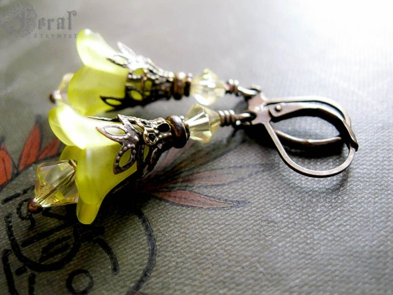 Pastel Evening Primrose Earrings. Yellow Fairy Flowers with Victorian Brass Filigree Hedge Witch. Herbal.