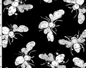 Busy Bees Black Fabric Yard by Loralie