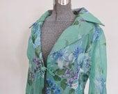 1970s boho evening coat PLUS size  floral coat,  semi sheer long coat, festival wear, hippie costume, party coat