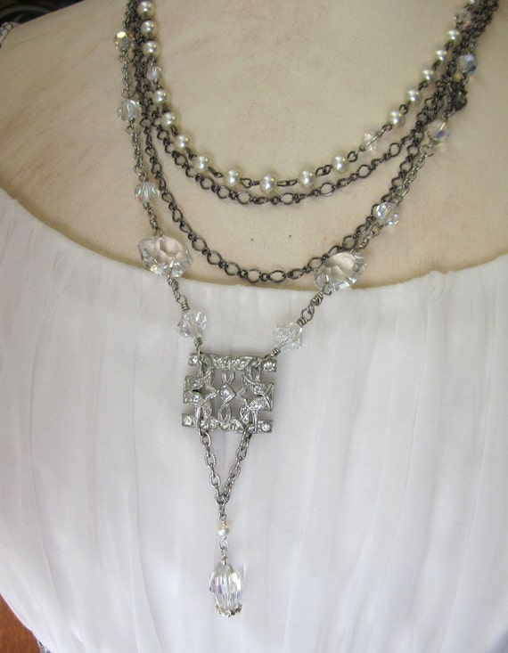 Upcycled Art Deco Rhinestone Necklace, Crystal Beads, Long Silver Chain, Pearls, Multi Chain, Repurposed OOAK Vintage Jewelry - JryenDesigns