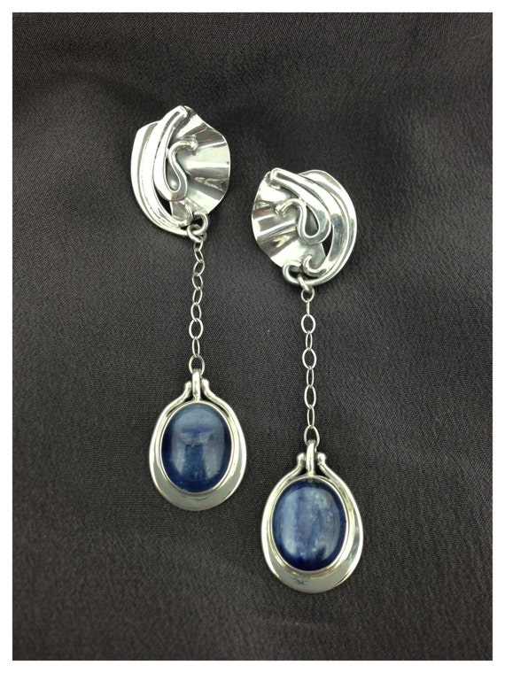 blue kyanite earrings blue silver earrings blue