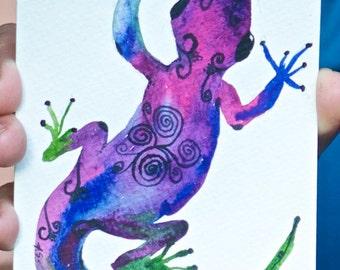 OriginalWatercolor Lizard Postcard