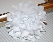 White Fabric flower  -  4''  large silk White  fabric flower - flat back  Dahlia Silk Flower  White