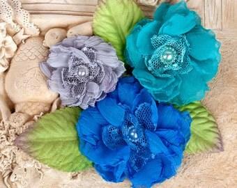 "Fabric Flowers - Paquita Surfside 566449 chiffon lace fabric flowers 2""- to 3"" size (3 pcs)  applique flower floral embellishment  hair hat"