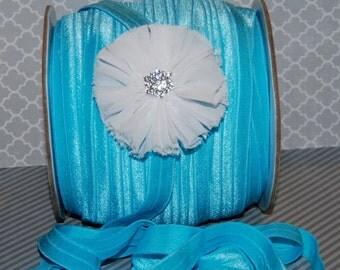 "Turquoise Blue Fold Over Elastic - Shiny FOE 5/8"" inch  Baby Headbands Hair Ties Satin Elastic Soft stretch - 5 yards Elastic FOE 15mm wide"