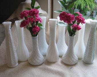 18 Piece Milk Glass Bud Vases Collection, Set of 18
