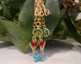 Triple Chain Legend of Zelda® Inspired Earrings with Spiritual Stones and Triforce