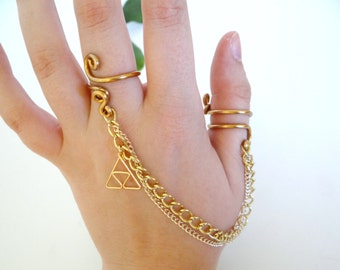 L.O.Z.® Double Chain Ring with Golden Triforce
