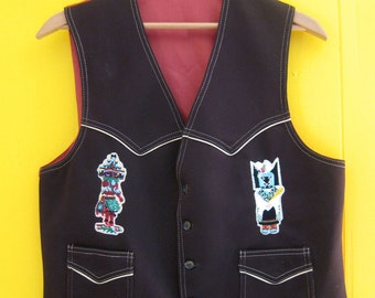 Vintage Vest/Cowboy Vest/Brown Vintage Vest/Native Style/Native American/Kachina Patches/Western Clothing