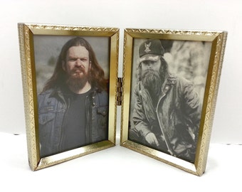 Framed biker dudes from 80s Easyriders magazine -- small gold frame with tough motorcycle men, vintage beards