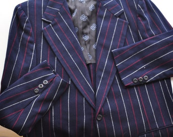 Vintage Designer Jacket Blazer '70's Mens Sport Coat Bill Blass 40L Vintage Red White Striped Wool Blazer Homespunsociety
