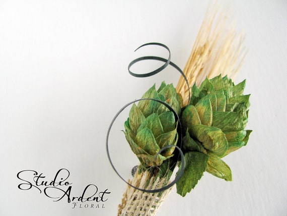 THE SPIRAL Beer Hops and Wheat Boutonniere QTY 1