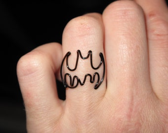 Wire Wrapped Small Batman MADE to ORDER Adjustable Ring