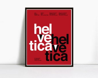 20x30 Inch Gicleè Suisse Swiss Helvetica Type Specimen Poster. Color: Red