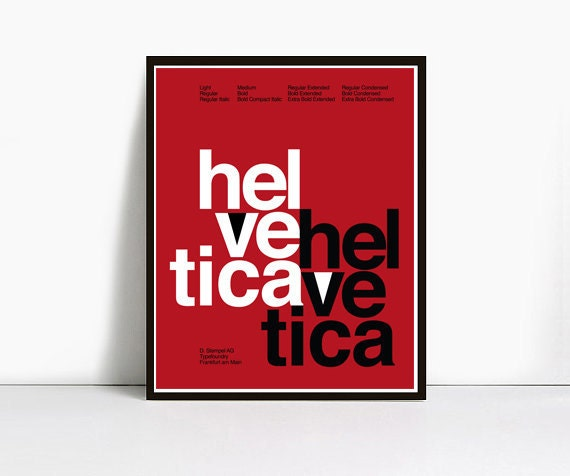 Red Helvetica Poster, Size 16x20 Inch