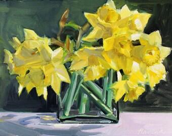 Daffodil Bouquet on Dark Green Background
